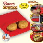2er Set Kartoffelbeutel von einer unbekannten Marke - die Bedienweise ist im Bild zu sehen